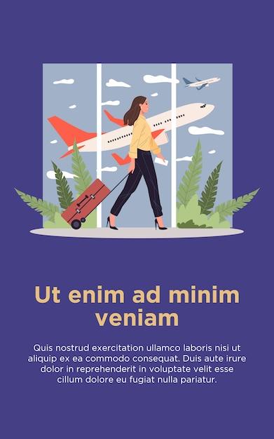 Fluggast mit gepäck, das durch flughafen geht Premium Vektoren