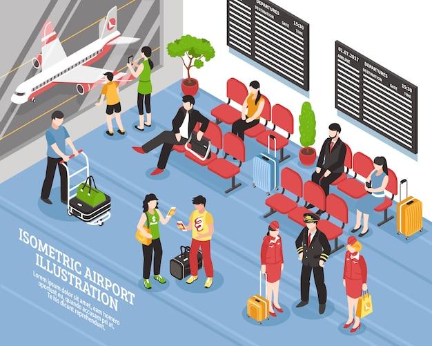 Flughafen-abflug-lounge isometrisches poster Kostenlosen Vektoren