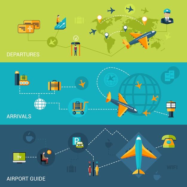 Flughafen banner set Kostenlosen Vektoren
