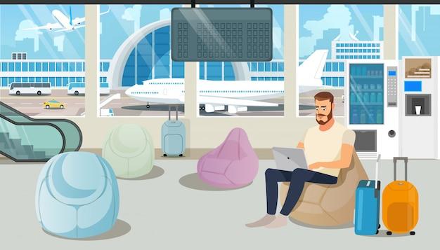 Flughafen-bequemer wartezimmer-karikatur-vektor Premium Vektoren