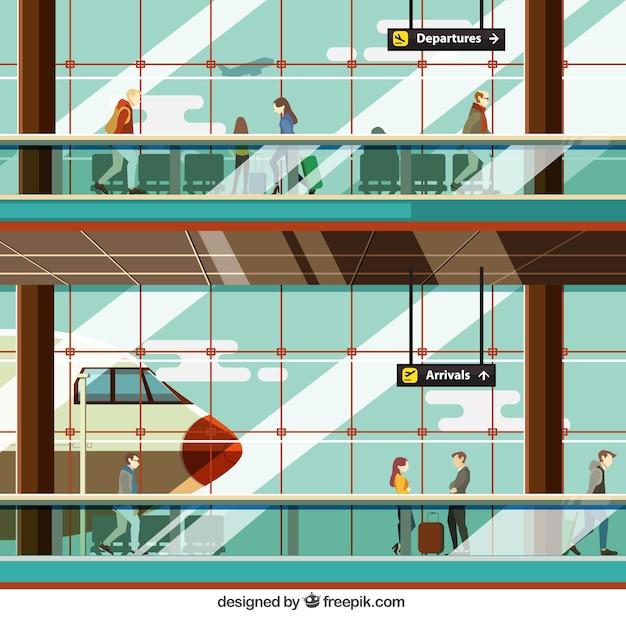 Flughafen illustation mit menschen Kostenlosen Vektoren