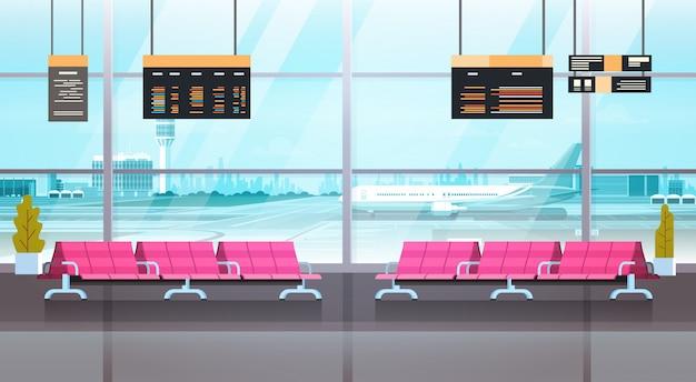 Flughafen-innenwartehalle-abfahrt Premium Vektoren