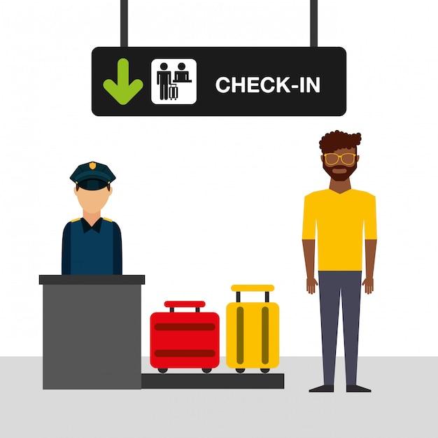 Flughafen konzept illustration, mann im flughafen-check-in-terminal Kostenlosen Vektoren