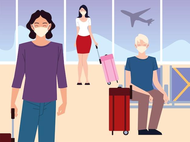 Flughafen neu normal, passagiere mit masken und koffern warten auf flug und halten soziale distanz Premium Vektoren