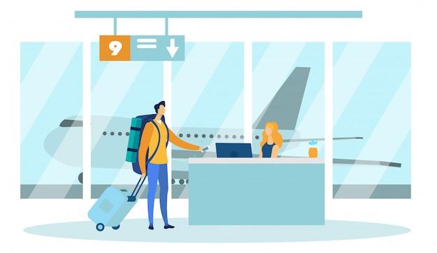 Flughafen-sicherheitskontrollbeamter, der auf person wartet. Premium Vektoren