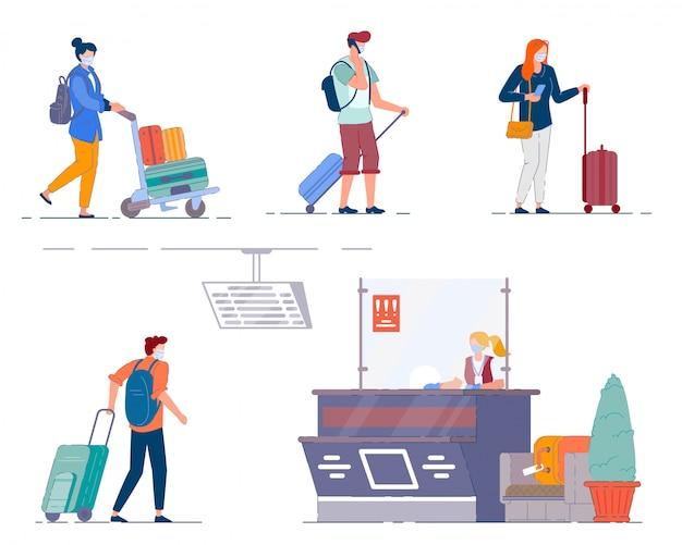 Flughafen terminal menschen. männer und frauen touristen Premium Vektoren