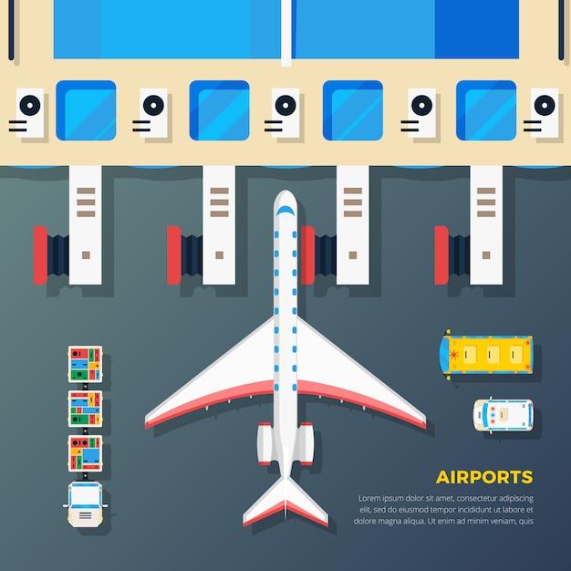 Flughafen-vorfeld-flugzeug an der jet-brücke Kostenlosen Vektoren