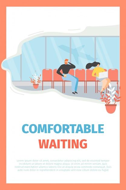 Flughafen-wartebereichs-flaches vektor-förderungs-plakat Kostenlosen Vektoren
