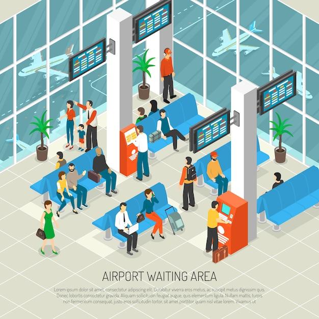 Flughafen-wartebereichs-isometrische illustration Kostenlosen Vektoren