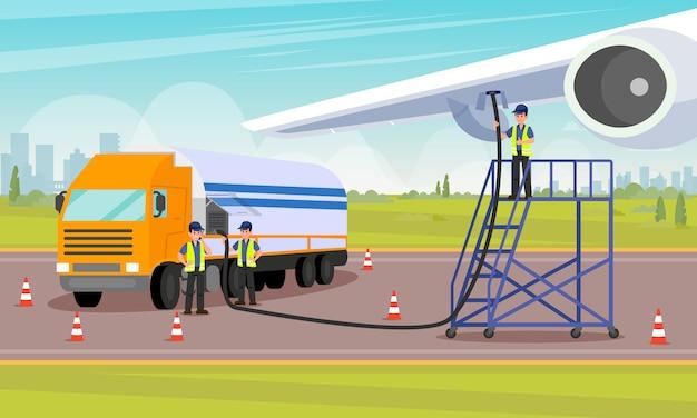 Flughafenarbeiter gießen kraftstoff in den flugzeugtank. Premium Vektoren