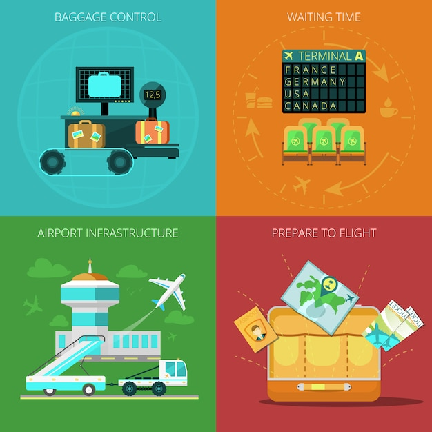 Flughafenflachset Kostenlosen Vektoren