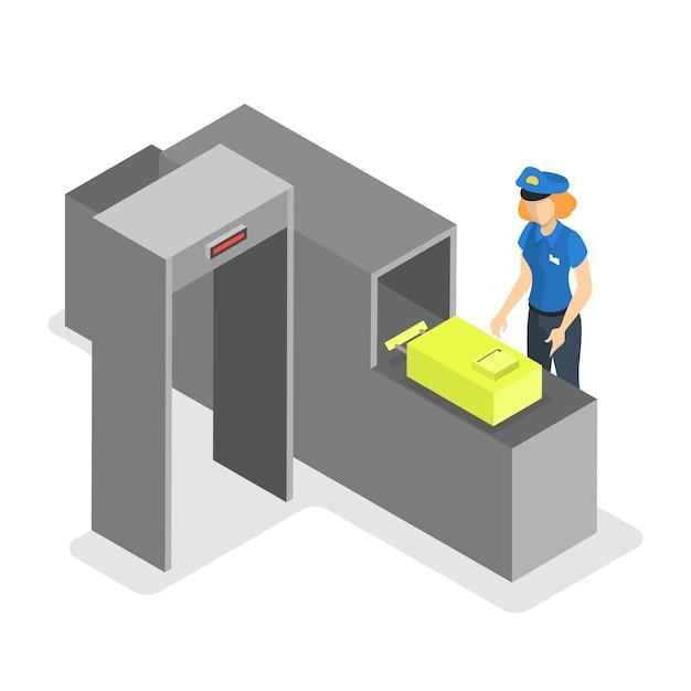 Flughafenförderband. kontrolle der gepäckkontrolle Premium Vektoren