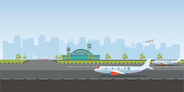 Flughafengebäude und flugzeuge auf landebahn. Premium Vektoren