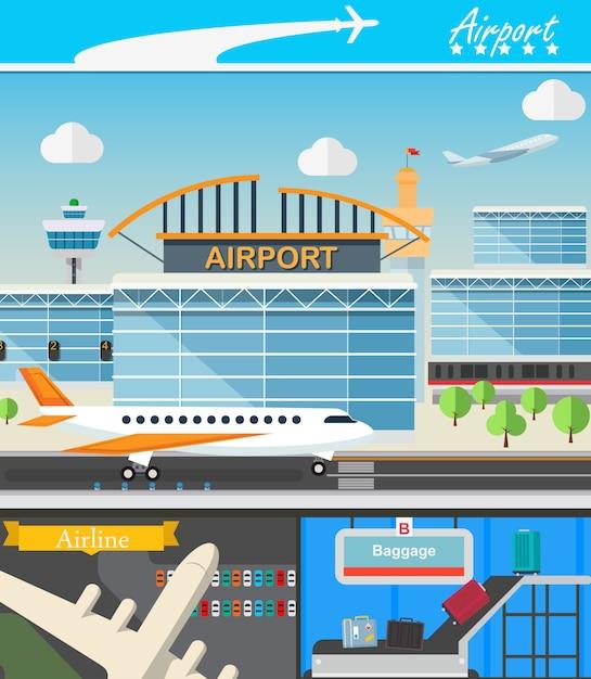 Flughafengebäude und reisekonzept vector illustration im flachen design. terminal-, start- und landebahnen. gepäcktransporter und flughafenturm. Premium Vektoren
