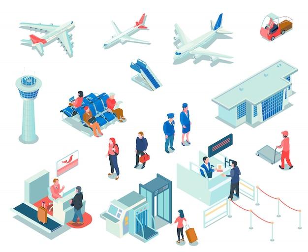 Flughafenikonen auf weiß Kostenlosen Vektoren