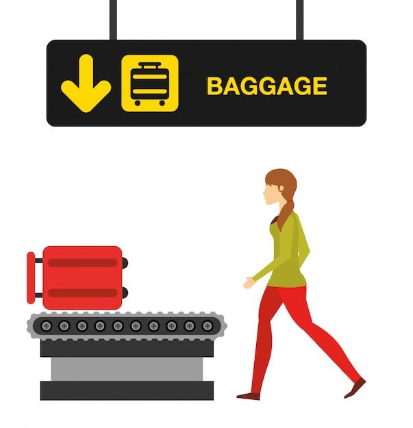 Flughafenkonzeptillustration, frau im flughafengepäckterminal Kostenlosen Vektoren