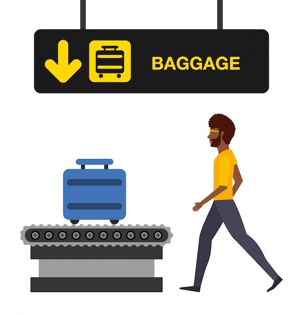 Flughafenkonzeptillustration, mann im flughafengepäckterminal Kostenlosen Vektoren