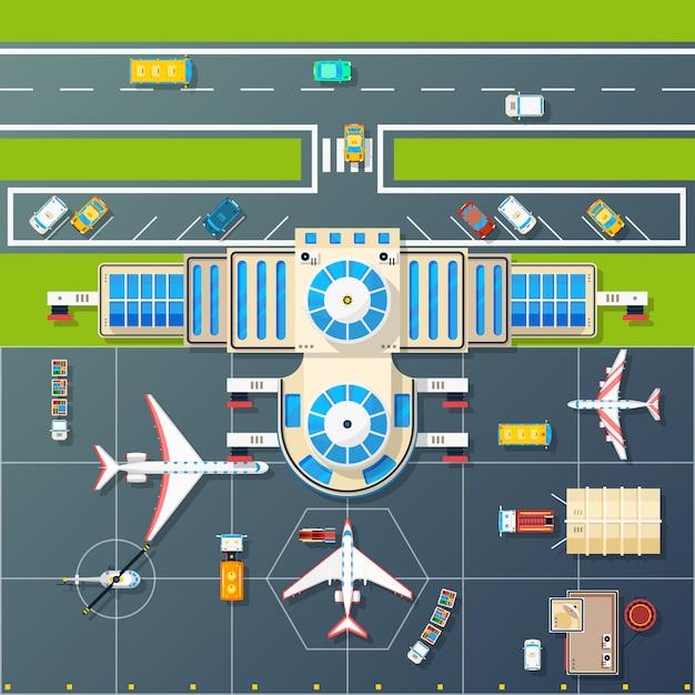 Flughafenparkplatz-draufsicht-flaches bild Kostenlosen Vektoren