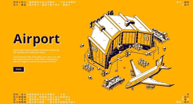 Flughafenterminal und flugzeug isometrisch. flugzeug in der nähe des flugplatzterminalgebäudes Kostenlosen Vektoren