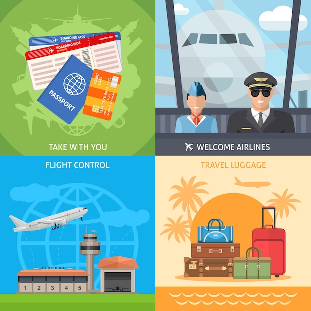 Flugreisekonzept Kostenlosen Vektoren