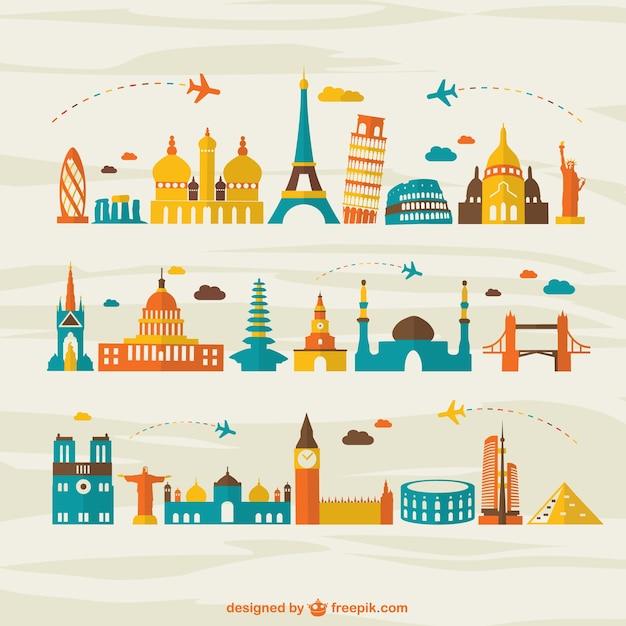 Flugreisen wahrzeichen tourismus vektor Kostenlosen Vektoren