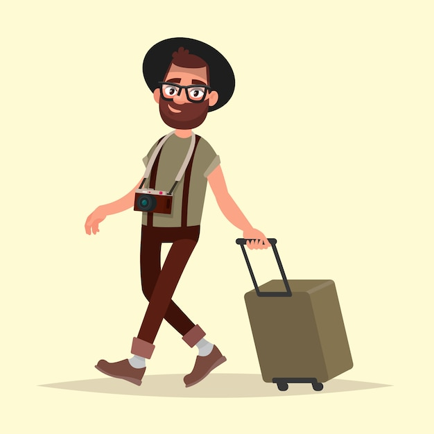 Flugreisender. hipster mann mit gepäck geht zum flughafen. vektorillustration im karikaturstil Premium Vektoren