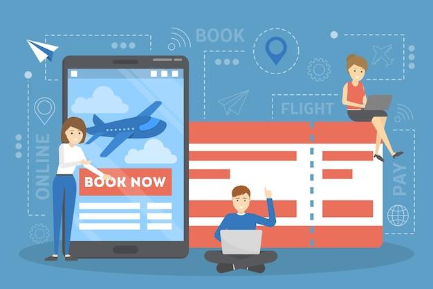 Flugticket online auf dem gerät buchen. flug- und reisekonzept. sommerferienplanung. illustration Premium Vektoren