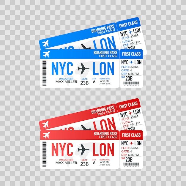 Flugtickets für bordkarten zum flugzeug für die reise. illustration. Premium Vektoren