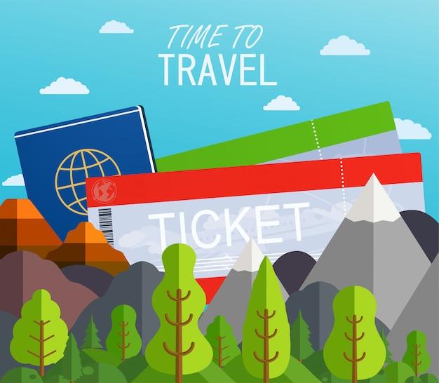 Flugtickets mit reisepass. reisekonzept hintergrund. sommerhintergrund mit bergen und bäumen. banner reiseziele. Premium Vektoren