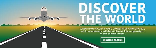 Flugzeug abheben von der startbahn in flughafen Premium Vektoren