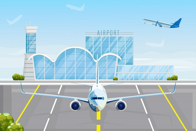 Flugzeug am flughafen Premium Vektoren