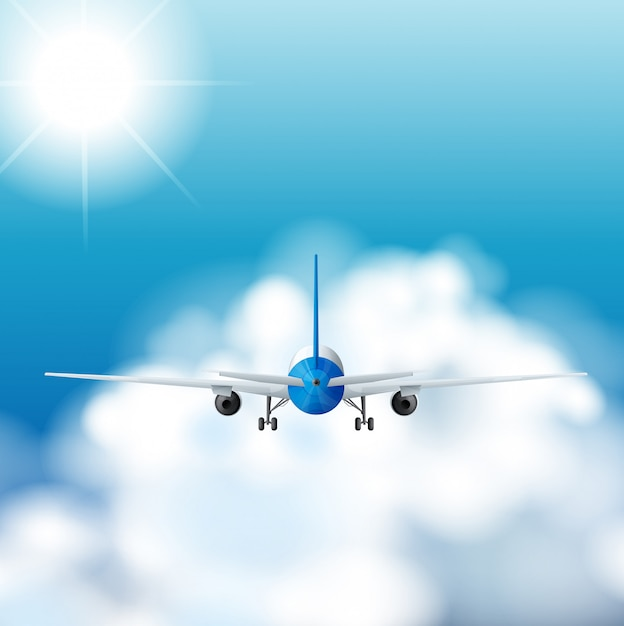 Flugzeug, das tagsüber in den himmel fliegt Kostenlosen Vektoren