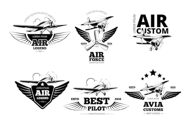 Flugzeug embleme vektor-etiketten. luftfahrtlogo, flug und beste pilotenillustration Kostenlosen Vektoren