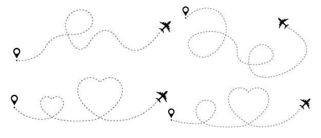 Flugzeug gepunktete route flugzeug gestrichelte verfolgungslinie mit herz Premium Vektoren