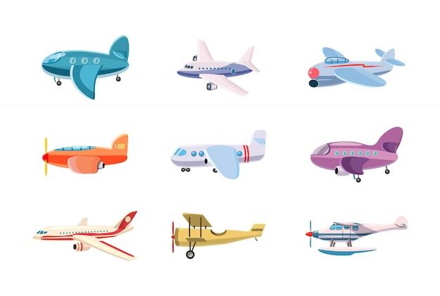 Flugzeug gesetzt. cartoon satz von flugzeug Premium Vektoren