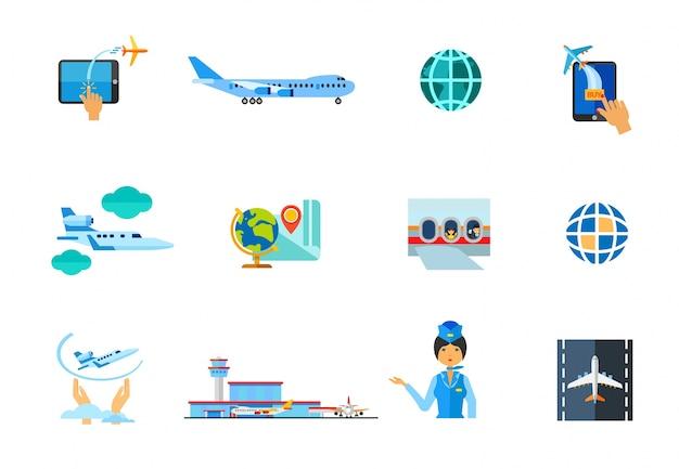 Flugzeug-icon-set Kostenlosen Vektoren