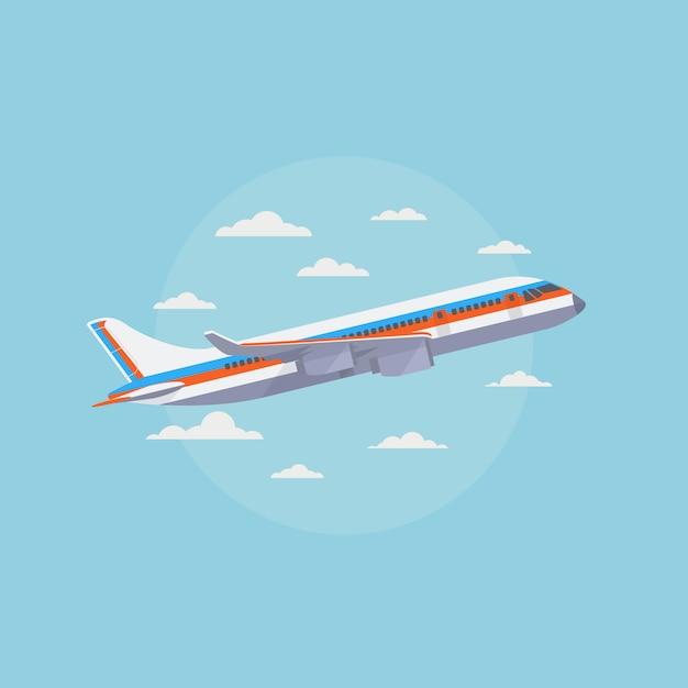 Flugzeug im blauen himmel mit weißen wolken. reisen und luftfracht Premium Vektoren