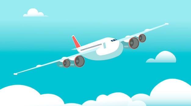Flugzeug im flug mit illustration der weißen wolken und des blauen himmels Premium Vektoren