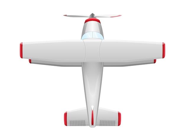 Flugzeug im karikaturstil auf weißem hintergrund. landwirtschaftliches propellerflugzeug, illustration Premium Vektoren