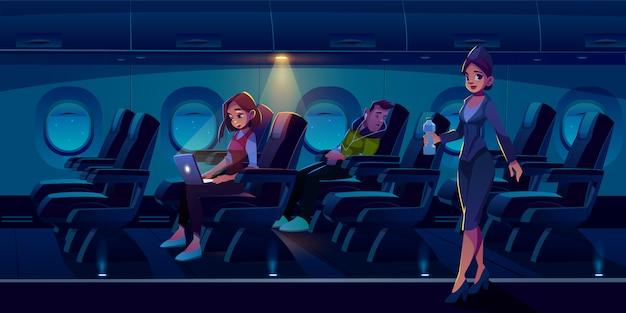 Flugzeug in der nacht illustration Kostenlosen Vektoren