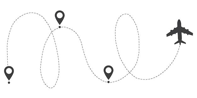 Flugzeug linie pfad route. startpunkt- und strichlinien-trace. Premium Vektoren