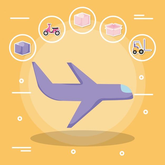 Flugzeug mit zustelldienst mit ikonensatz Premium Vektoren