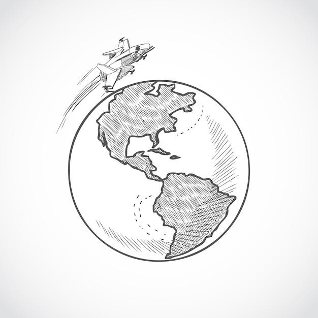 Flugzeug symbole globus Premium Vektoren
