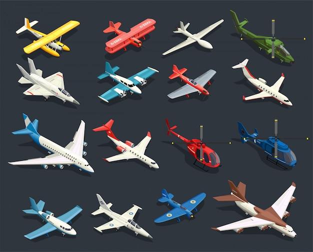 Flugzeuge hubschrauber isometrische symbole Kostenlosen Vektoren