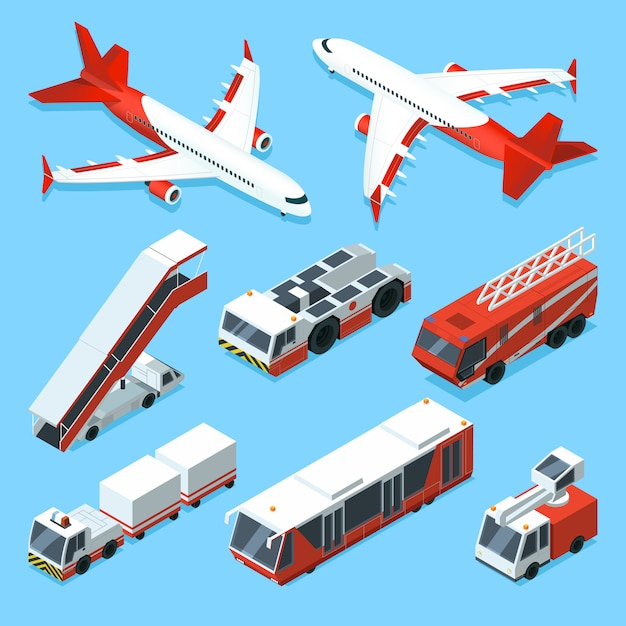 Flugzeuge setzen und andere hilfsmaschinen im flughafen. vektor isometrische illustrationen des transports Premium Vektoren