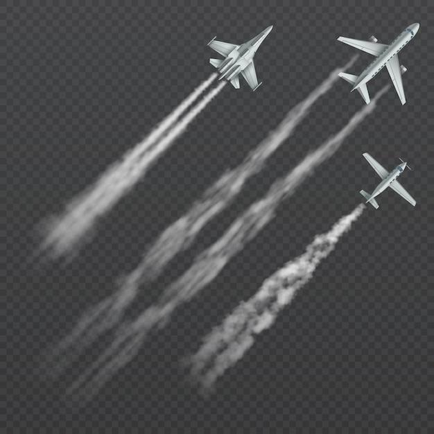 Flugzeuge und militärkämpfer mit rauchiger spur der kondensation lokalisierten sammlung. Premium Vektoren