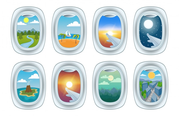 Flugzeugfensteransicht-vektorillustrationssatz Premium Vektoren