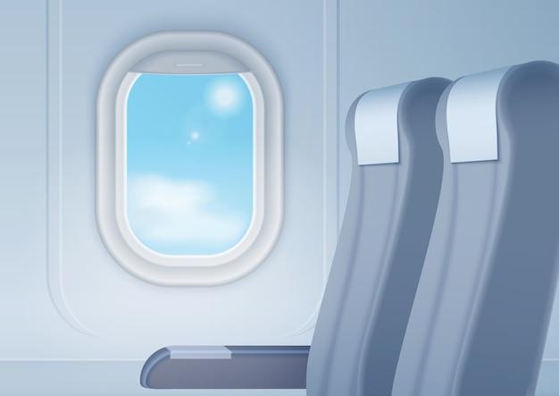 Flugzeuginnenraum mit realistisch glattem fenster und sitzen Premium Vektoren