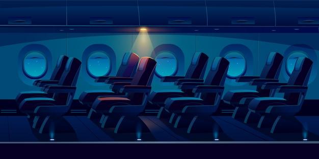 Flugzeugkabine in der nacht Kostenlosen Vektoren