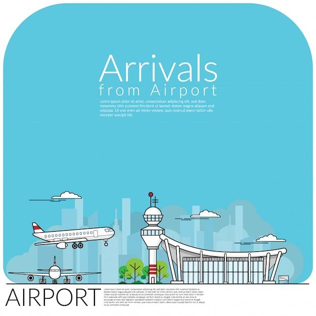 Flugzeuglandung für die ankunft vom flughafenterminal Premium Vektoren